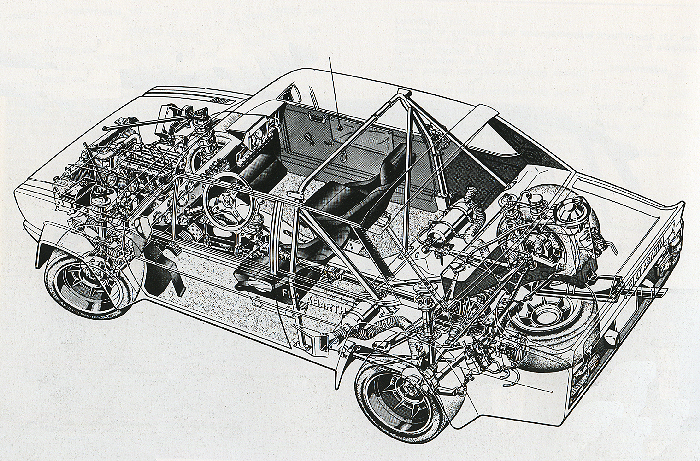 Works 131 Abarth line Drawing - Courtesy of the Fiat Archive, Turin